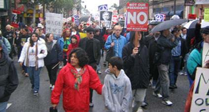 A huge sign of solidarity against the illegal Iraq war